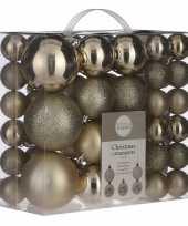 Kerstboomversiering pakket met 46x licht champagne plastic kerstballen
