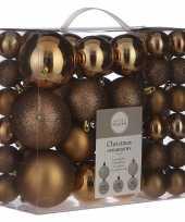 Kerstboomversiering pakket met 46x licht koperen plastic kerstballen