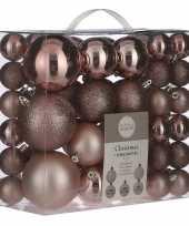 Kerstboomversiering pakket met 46x lichtroze plastic kerstballen