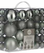 Kerstboomversiering pakket met 46x mintgroene plastic kerstballen