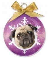 Kerstversiering honden kerstballen mopshonden 8 cm