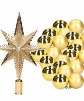 Kerstversiering set goud met 36 kerstballen en kerstster piek