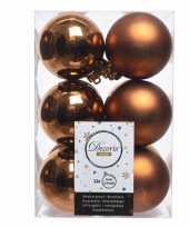 Koperen kerstballen 24x van kunststof 6 cm