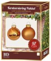 Koperen kerstballen pakket 97 delig christmas copper combi glass