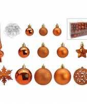 Koperen kunststof kerstballen 3 4 6 cm en kerstversiering set 101 delig