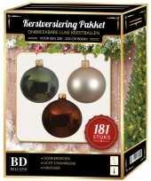Licht champagne bruine groene kerstballen pakket 181 delig voor 210 cm boom