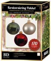 Licht champagne donkergroene kerst rode kerstballen pakket 170 delig voor 210 cm boom