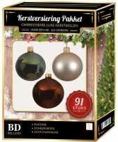 Licht champagne donkergroene mahonie bruine kerstballen pakket 91 delig voor 150 cm boom