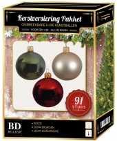 Licht champagne donkergroene rode kerstballen pakket 91 delig voor 150 cm boom