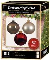 Licht champagne kasjmier bruine rode kerstballen pakket 91 delig voor 150 cm boom