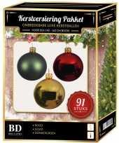 Licht gouden donkergroene rode kerstballen pakket 91 delig voor 150 cm boom
