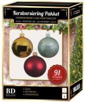 Licht gouden donkerrode mintgroene kerstballen pakket 91 delig voor 150 cm boom