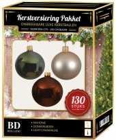 Licht parel bruine groene kerstballen pakket 130 delig voor 180 cm boom