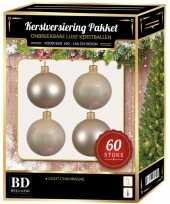 Licht parel champagne kerstballen pakket 60 delig voor 150 cm boom