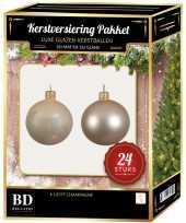 Licht parel champagne kerstversiering kerstballen 24 delig 6 cm