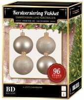 Licht parel hampagne kerstballen pakket 96 delig voor 180 cm boom