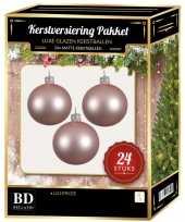 Lichtroze kerstversiering kerstballen 24 delig 6 en 8 cm
