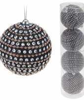 Luxe kerstballen met glitters 4 stuks