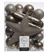 Luxe kerstballen pakket piek bruin kunststof 33 stuks