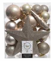 Luxe kerstballen pakket piek champagne kunststof 33 stuks
