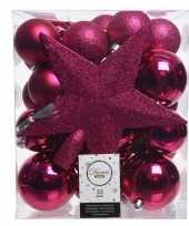 Luxe kerstballen pakket piek fuchsia roze kunststof 33 stuks