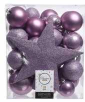 Luxe kerstballen pakket piek lila kunststof 33 stuks
