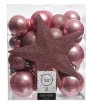 Luxe kerstballen pakket piek oud roze kunststof 33 stuks