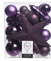 Luxe kerstballen pakket piek paars kunststof 33 stuks