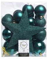 Luxe kerstballen pakket piek smaragd kunststof 33 stuks