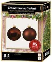 Mahonie bruine kerstballen pakket 45 delig voor 120 cm boom