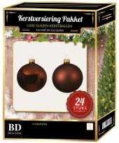 Mahonie bruine kerstversiering kerstballen 24 delig 6 en 8 cm