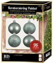 Mintgroene kerstballen pakket 96 delig voor 180 cm boom