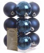 Mystic christmas kerstboom decoratie kerstballen blauw 12 stuks
