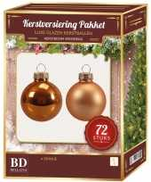 Oranje kerstballen pakket 72 delig christmas autumn sunset glass
