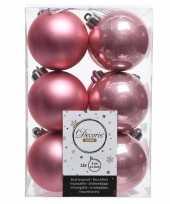 Oud roze kerstballen van kunststof 6 cm