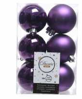 Paarse kerstballen van kunststof 6 cm