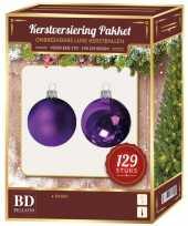Paarse mix tinten kerstballen pakket 129 delig voor 180 cm boom