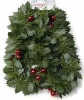 Pakket van 4x stuks kerst hulstslinger guirlandes met rode kerstballen 270 cm