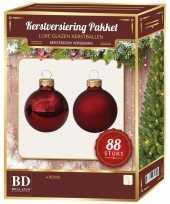 Rode kerstballen pakket 88 delig christmas red combi glass