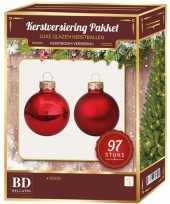 Rode kerstballen pakket 97 delig christmas red combi glass