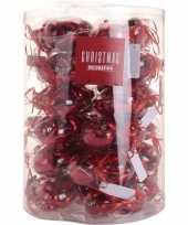 Rode kerstdecoratie hartjes kerstballen 10 stuks