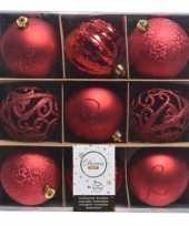 Rode kerstdecoratie kerstballen set van kunststof 9 stuks