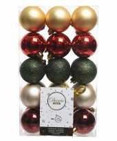 Rood goud groene kerstballen set 6 cm