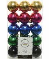 Roze goud kobalt kerstballen set 6 cm