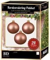 Roze kerstversiering kerstballen 24 delig 6 en 8 cm