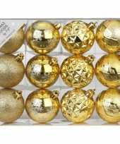 Set van 12 luxe gouden kerstballen 6 cm kunststof mat glans