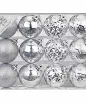 Set van 24x luxe zilveren kerstballen 6 cm kunststof mat glans