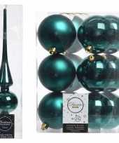 Smaragd groene kerstversiering kerstdecoratie set piek en 12x kerstballen 8 cm glans mat