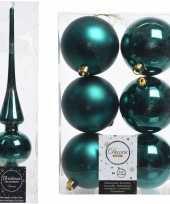 Smaragd groene kerstversiering kerstdecoratie set piek en 6x kerstballen 8 cm glans mat