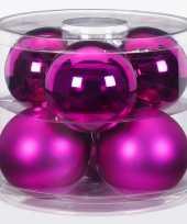 Tube met 12 fuchsia kerstballen van glas 10 cm glans en mat
